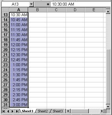 A Class Schedule Using Excel
