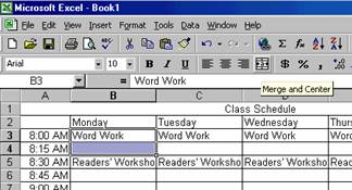 creating a class schedule using excel