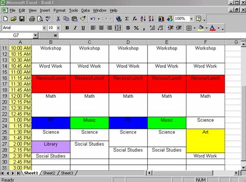 Creating a class schedule using excel cells that you want to change the color of and click on the arrow next to the fill color button choose your color and continue doing this with any maxwellsz